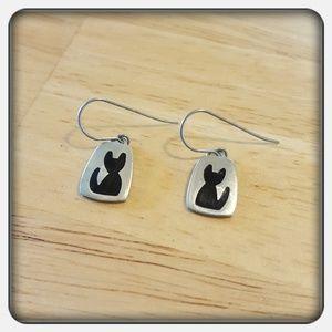 Jewelry - NWOT Sterling Silver Kitty Earrings